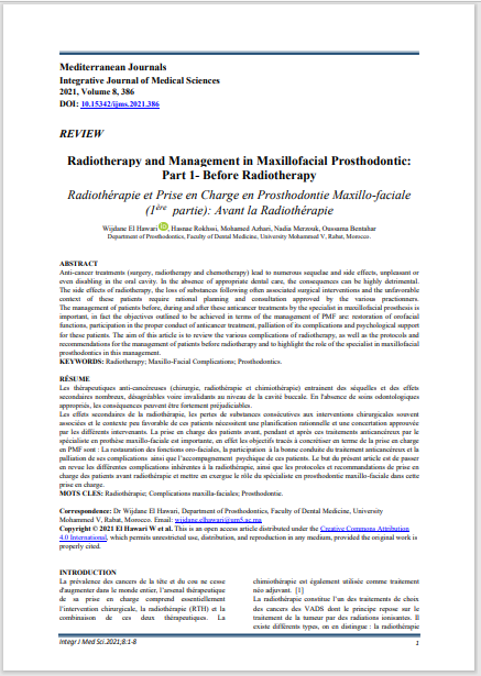 Radiotherapy and Management in Maxillofacial Prosthodontic: Part 1- Before Radiotherapy