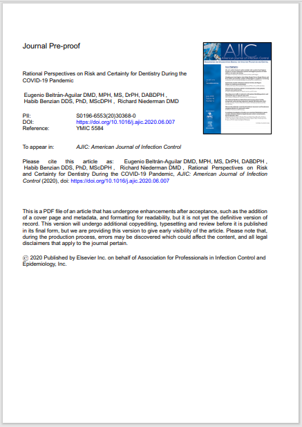 Rational Perspectives on Risk and Certainty for Dentistry During the COVID-19 Pandemic