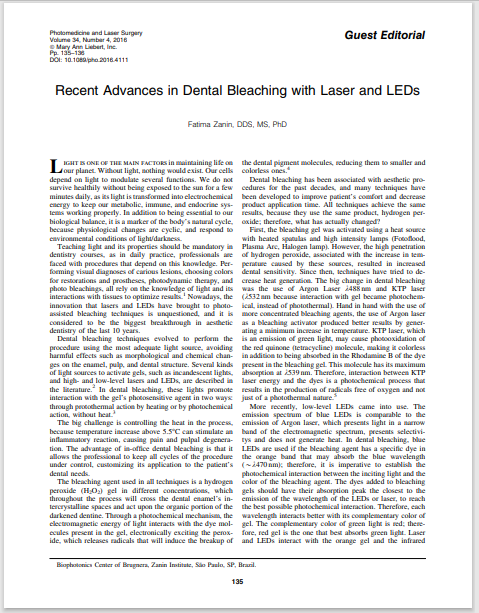 Recent Advances in Dental Bleaching with Laser and LEDs