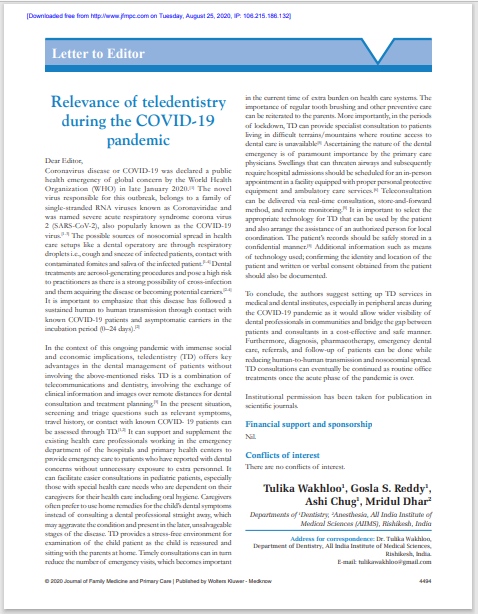 Relevance of teledentistry during the COVID-19 pandemic