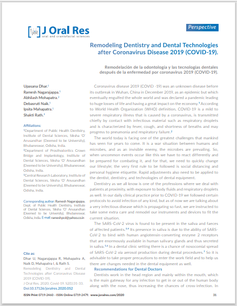 Remodeling Dentistry and Dental Technologies after Coronavirus Disease 2019 (COVID-19).