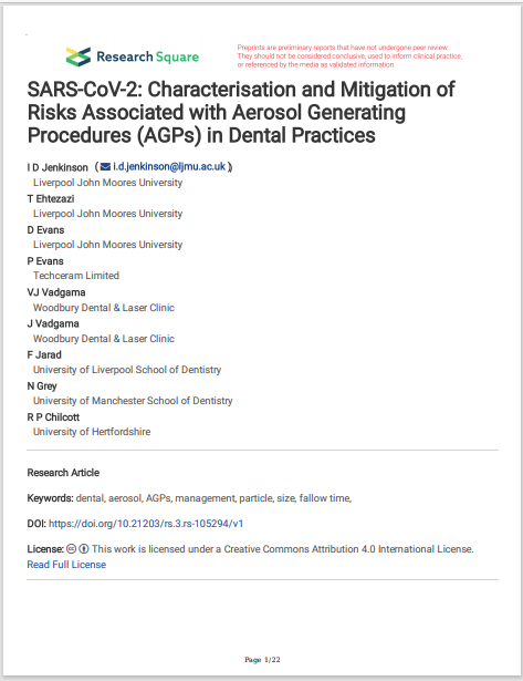 SARS-CoV-2: Characterisation and Mitigation of Risks Associated with Aerosol Generating Procedures (AGPs) in Dental Practices