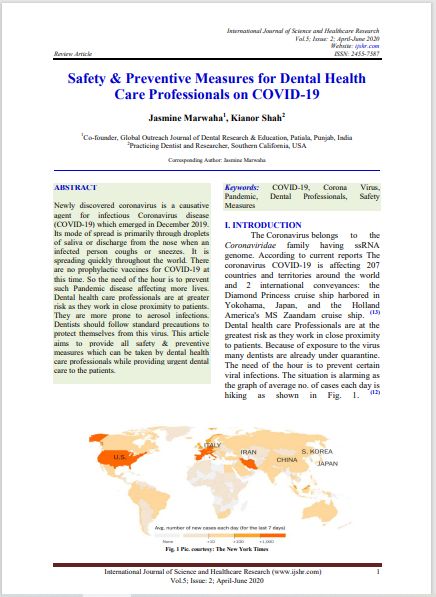 Safety & Preventive Measures for Dental Health Care Professionals on COVID-19