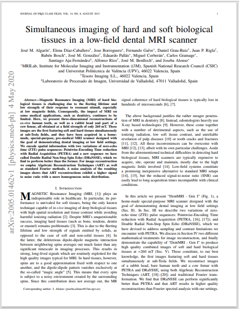 Simultaneous imaging of hard and soft biological tissues in a low‑feld dental MRI scanner