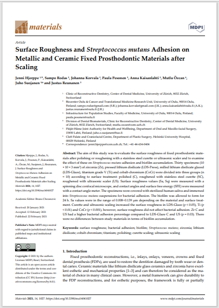 Surface Roughness and Streptococcus mutans Adhesion on Metallic and Ceramic Fixed Prosthodontic Materials after Scaling