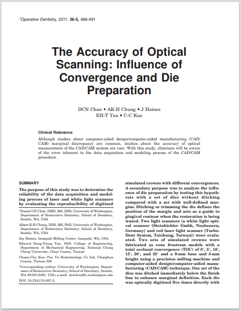The Accuracy of Optical Scanning: Influence of Convergence and Die Preparation