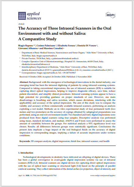 The Accuracy of Three Intraoral Scanners in the Oral Environment with and without Saliva: A Comparative Study