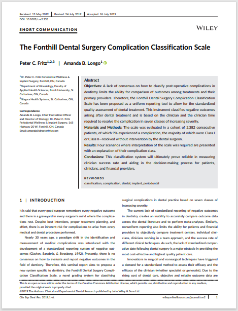 The Fonthill Dental Surgery Complication Classification Scale