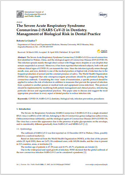 The Severe Acute Respiratory Syndrome Coronavirus-2 (SARS CoV-2) in Dentistry. Management of Biological Risk in Dental Practice