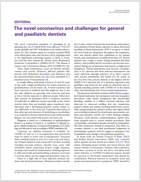 The novel coronavirus and challenges for general and paediatric dentists
