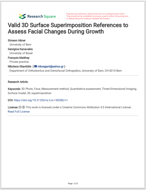 Valid 3D Surface Superimposition References to Assess Facial Changes During Growth