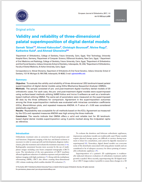 Validity and reliability of three-dimensional palatal superimposition of digital dental models